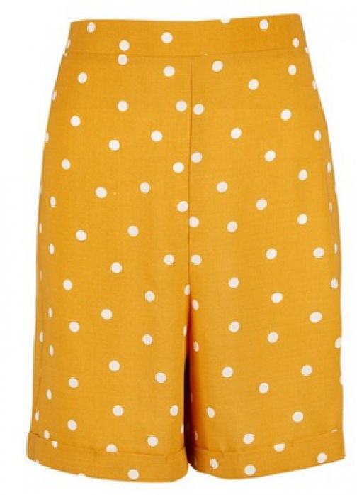 Dorothy Perkins Tall Yellow Spot Print Short