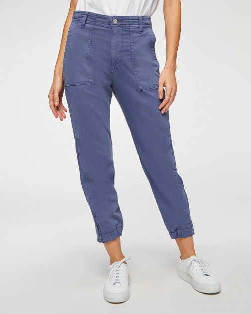 7 For All Mankind Womens Side Zipper French Blue Size: 24 Jogger