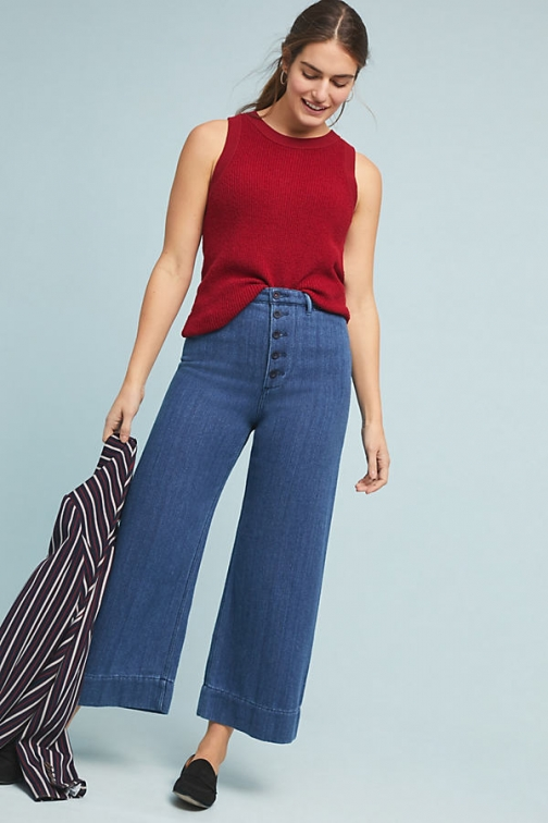 Pilcro And The Letterpress Pilcro Ultra High-Rise Wide-Leg Culotte Jeans