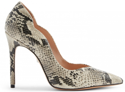 Schutz Shoes Monaliza Pump - 7.5 Natural Snake Snake Embossed Leather Pumps
