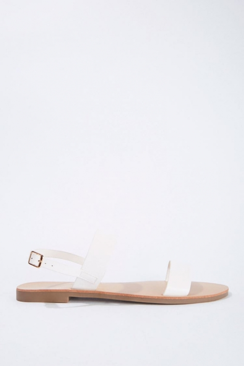 Forever21 Forever 21 Faux Leather Dual-Strap , White Sandals