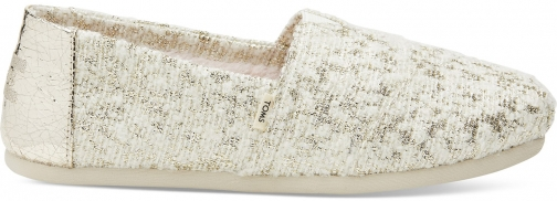 Toms White Gold Holiday Slub Woven Women's Classics Slip-On Shoes