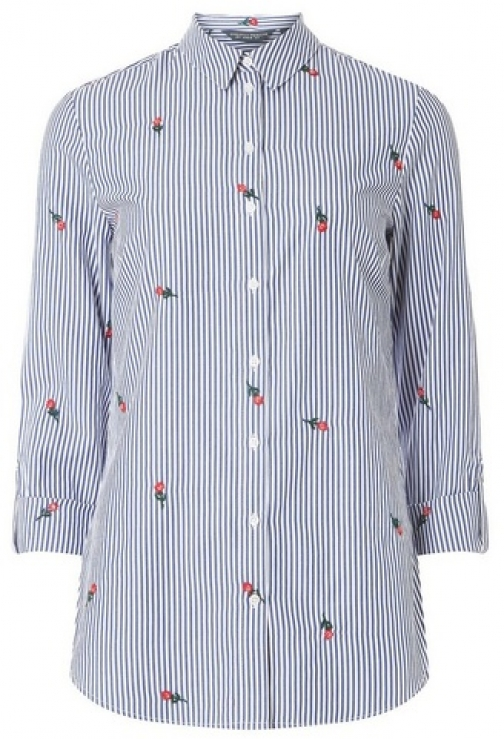 Dorothy Perkins Womens **Tall Multi-Coloured Rose Striped Embroidered - Multi, Multi Shirt