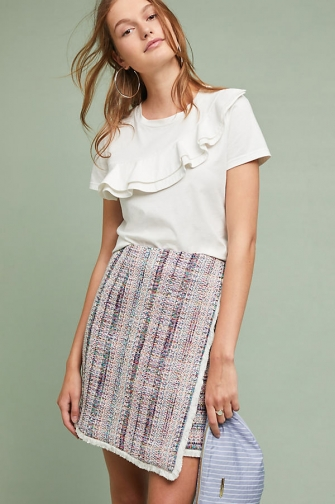 Hutch Letti Fringed Metallic-Tweed Wrap Skirt