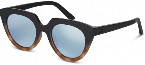 Toms Traveler By TOMS Lourdes Matte Black Brown Fade With Deep Blue Mirror Lens Sunglasses