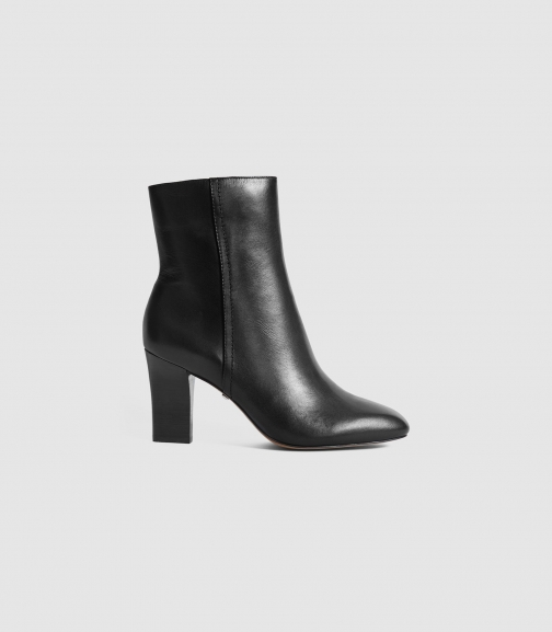 Reiss Ruby - Leather Black, Womens, Size 6 Ankle Boot