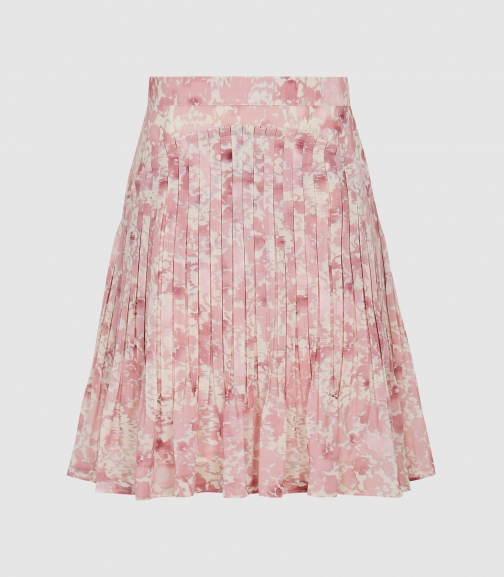 Reiss Orielle - Floral Printed Pink Print, Womens, Size 12 Mini Skirt