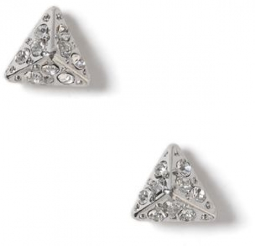 Topman Mens SILVER Glass Crystal Triangle Stud *, SILVER Earring