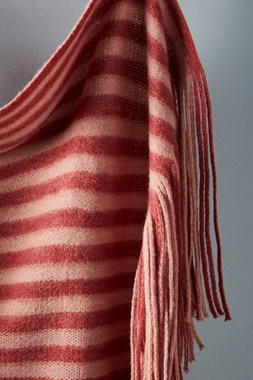 Anthropologie Cosy Striped Blanket - Pink Scarf