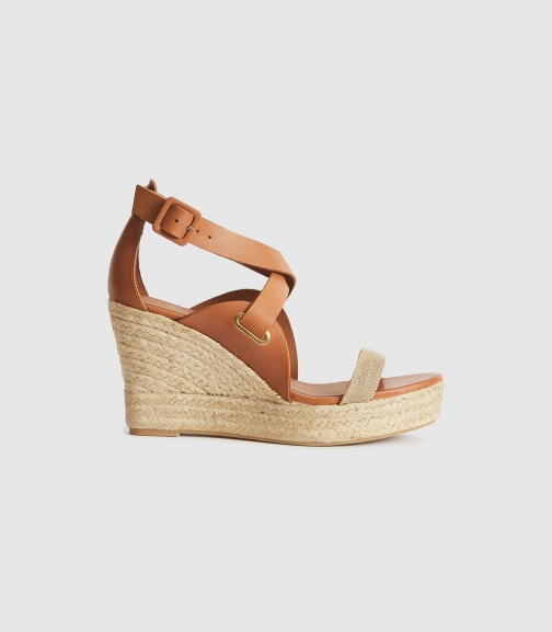 Reiss Eris - Neutral, Womens, Size 4 Wedge Sandal