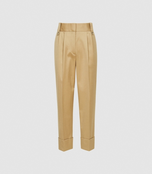 Reiss Mae - Wool Blend Pleat Front Trousers Gold, Womens, Size 4 Trouser