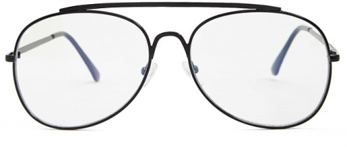 Forever21 Forever 21 Premium Metal Aviator Readers , Black/clear Eyewear