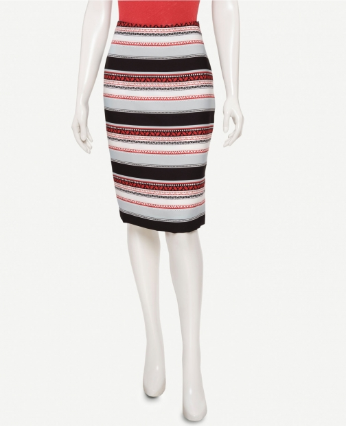 Oasis Border Stripe Long Pencil Skirt