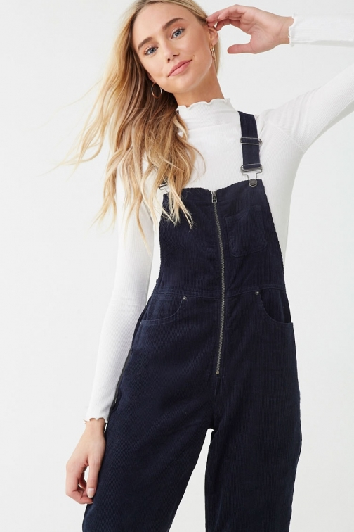 Forever21 Forever 21 Corduroy Zip-Front Overalls , Navy Jumpsuit