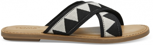Toms Black Geometric Women's Viv Sandals