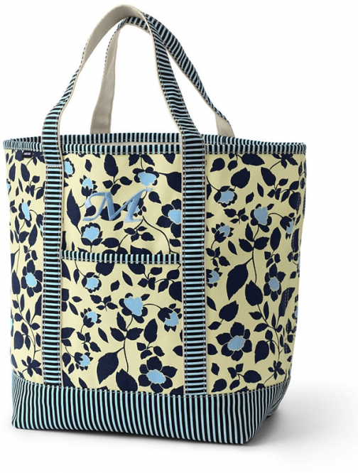 Lands' End All Over Print Large Open Top Bag - Lands' End - Yellow Tote