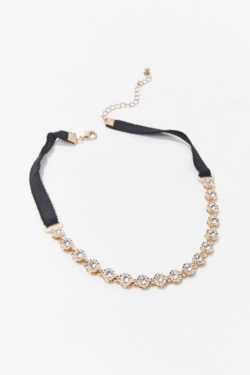 Forever21 Forever 21 Rhinestone Necklace , Gold Chokers