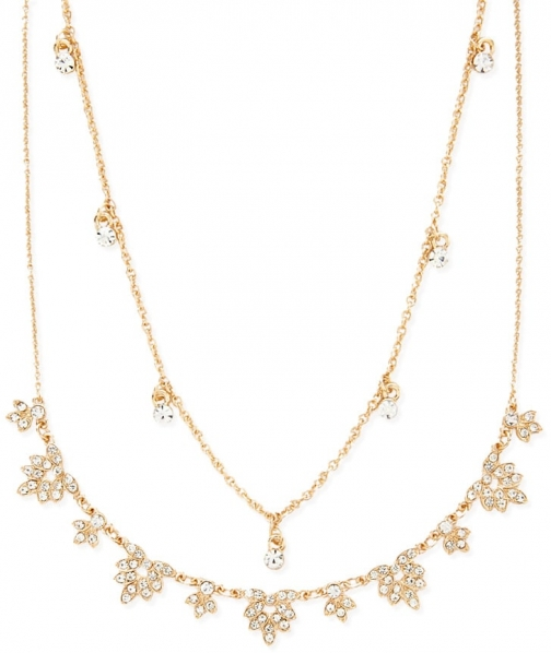 Forever21 Forever 21 Rhinestone Leaf Necklace Set , Gold/clear Jewellery