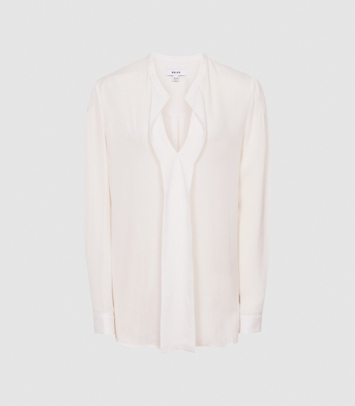 Reiss Rochelle - Pintuck Detailed Ivory, Womens, Size 4 Blouse