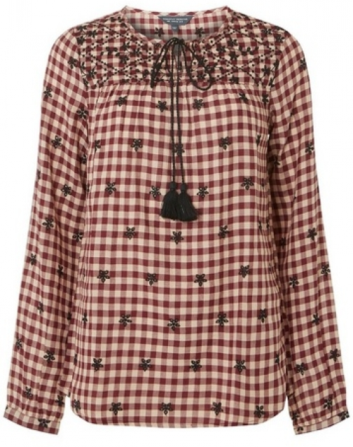 Dorothy Perkins Womens **Tall Multi-Coloured Gingham Embroidered - Multi, Multi Top