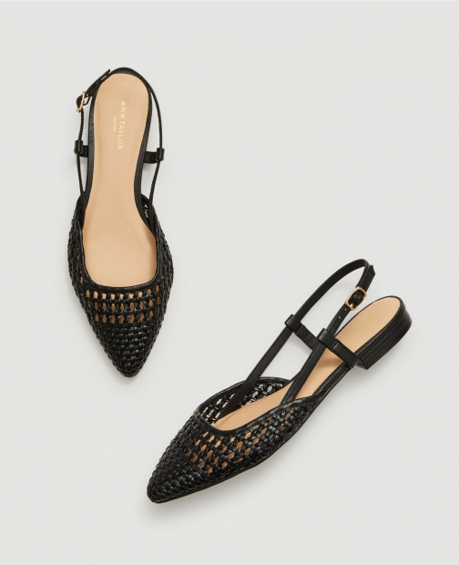 Ann Taylor Factory Woven Slingback Flats