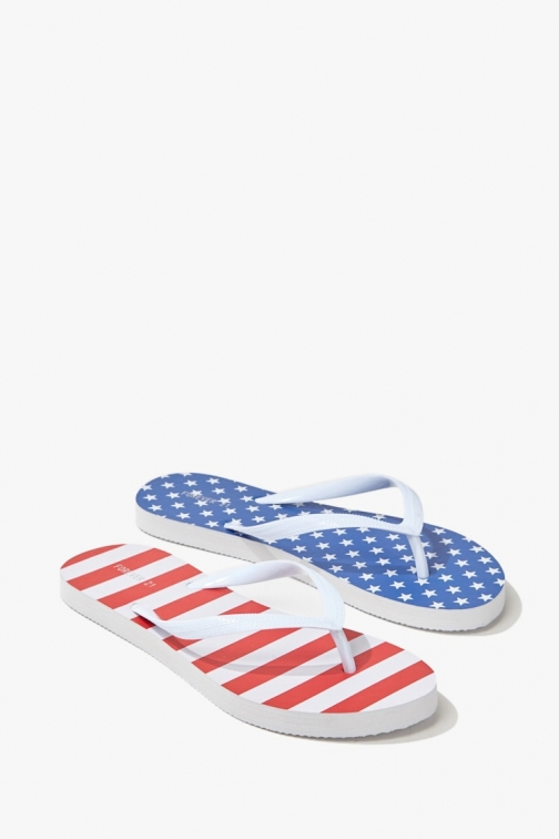 Forever21 Forever 21 United States Flag Graphic Flip-Flops Blue/red Flip Flop