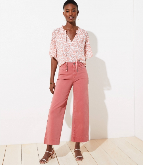 Loft High Waist Wide Leg Crop Dazzling Rose Jeans