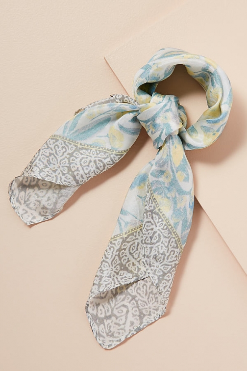 Anthropologie Jessica Printed-Silk Scarf