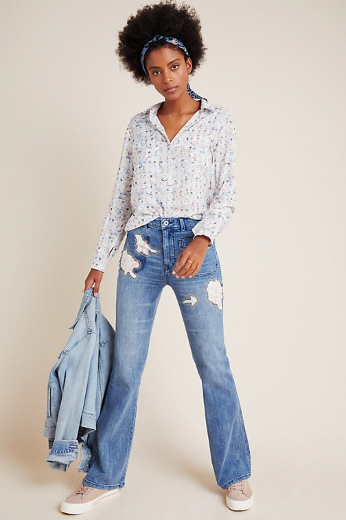 Pilcro And The Letterpress Pilcro High-Rise Floral-Detailed Bootcut Jeans