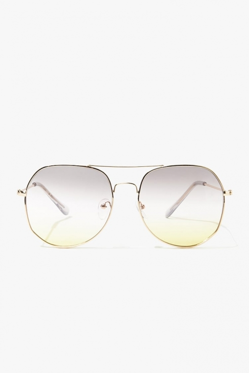 Forever21 Forever 21 Metal Aviator Ombre , Gold/pink Sunglasses