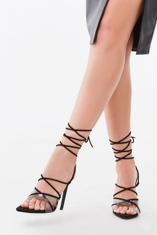 Forever21 Forever 21 Strappy Open-Toe Stiletto Heels , Black Shoes