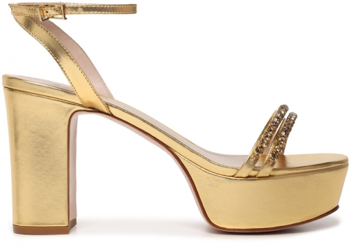 Schutz Shoes Rumaysa Platform Sandal - 5 Gold Metallic Leather Sandals