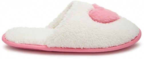 Forever21 Forever 21 Faux Fur Heart Graphic , White/pink Slippers