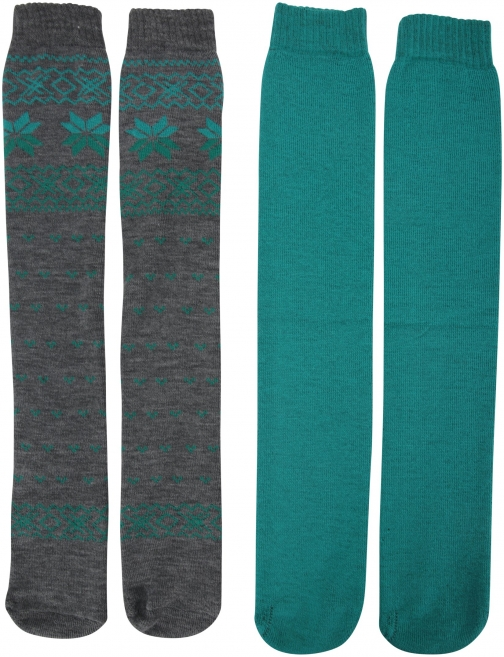 Mountain Warehouse Patterned Ski Tubes - 2PK - Green Sock