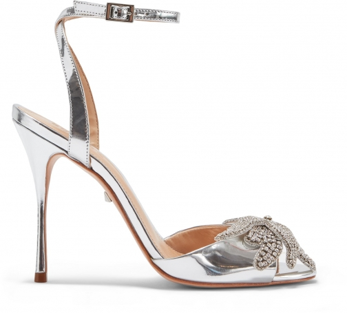 Schutz Shoes Ayanne Sandal - 5 Prata Silver Specchio Leather Sandals