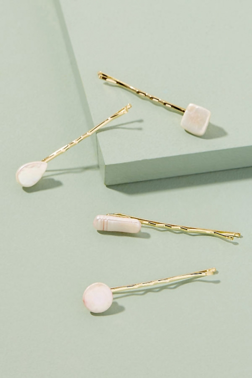 Anthropologie Freshwater Pearl-Embellished Hair Set Pin