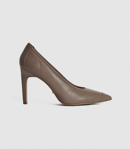 Reiss Lowri - Leather Point Toe Shoes Mid Grey, Womens, Size 3 Court
