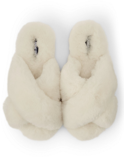 Lands' End Women's Shearling Open Toe House - Lands' End - Ivory - 6 Slippers