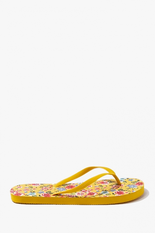 Forever21 Forever 21 Floral Print , Yellow/multi Flip Flop