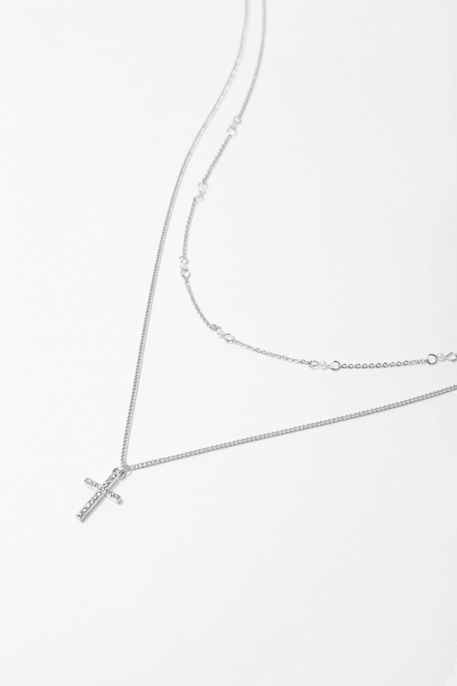 Forever21 Forever 21 Rhinestone Cross Pendant Necklace Set , Silver/clear Jewellery