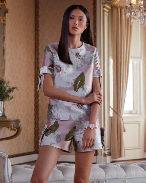 Ted Baker Chatsworth Bloom Bow Sleeve Top Shirt