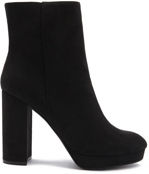 Forever21 Forever 21 Faux Suede Platform Ankle Booties , Black Boot