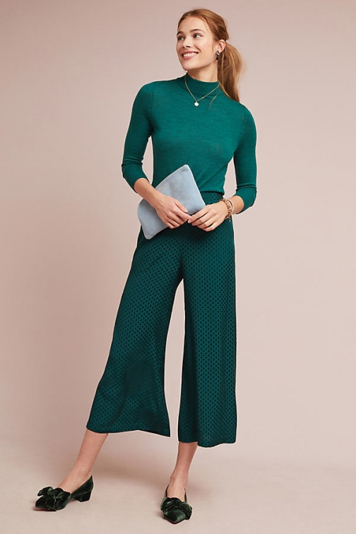 Anthropologie Holiday Wide-Leg Trousers - Green, Size Wide Leg Trouser
