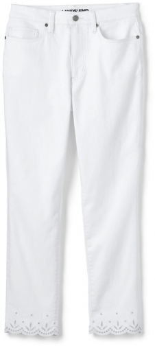 Lands' End Women's Plus Size High Rise Slim Leg Ankle - Embroidered - Lands' End - White - 24W Jeans