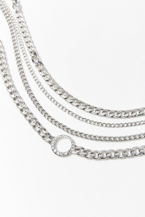 Forever21 Forever 21 Chunky Chain Necklace Set , Silver/clear Jewellery