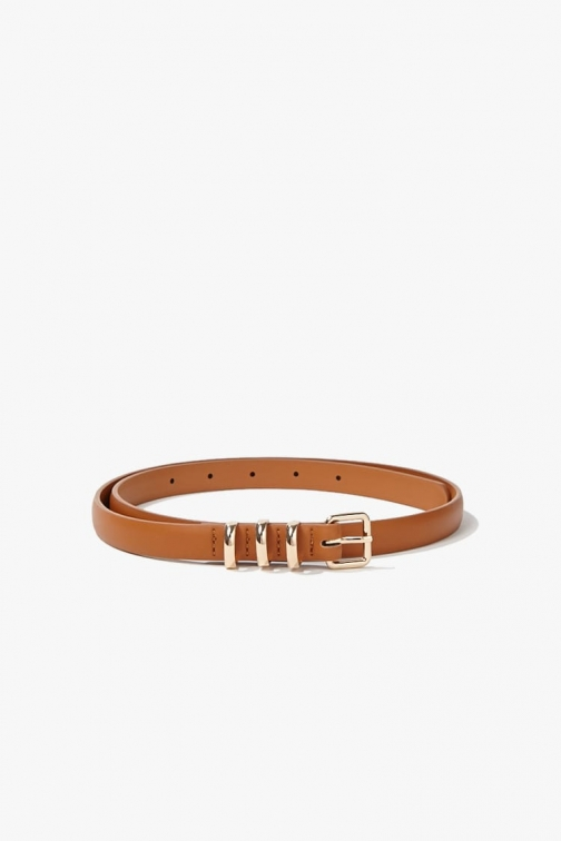 Forever21 Forever 21 Faux Leather Skinny , Tan Belt