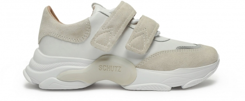 Schutz Shoes Nella Metallic Leather & Suede Sneaker - 5.5 Sugar White Leather/Suede Trainer