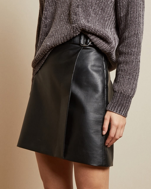 Ted Baker Ring Detail Pleather Mini Skirt