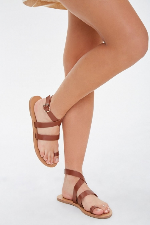 Forever21 Forever 21 Wraparound Toe-Loop , Brown Sandals