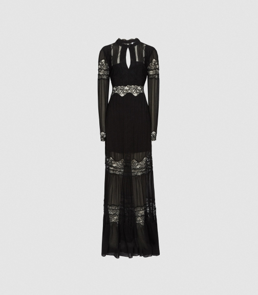 Reiss Miranda - Open Back Lace Black, Womens, Size 4 Maxi Dress